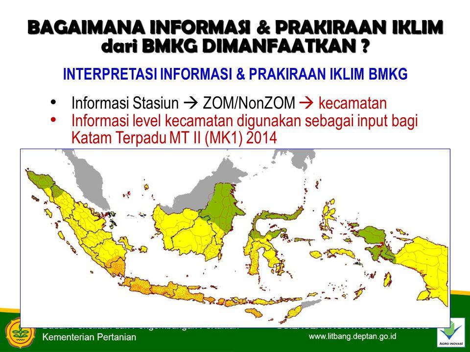 Informasi Stasiun  ZOM/NonZOM  kecamatan Informasi level kecamatan digunakan sebagai input bagi Katam Terpadu MT II (MK1) 2014