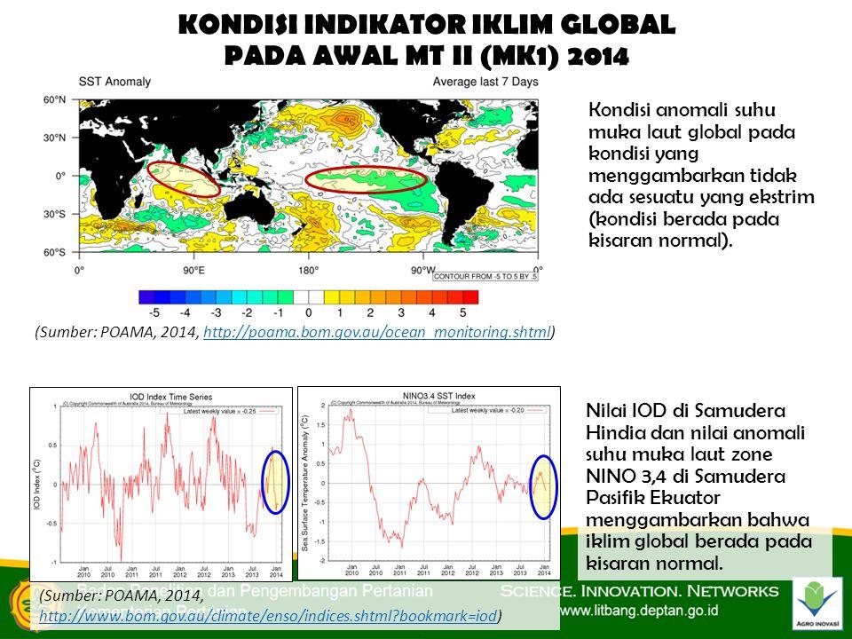 KONDISI INDIKATOR IKLIM GLOBAL PADA AWAL MT II (MK1) 2014 (Sumber: POAMA, 2014, http://poama.bom.gov.au/ocean_monitoring.shtml)http://poama.bom.gov.au/ocean_monitoring.shtml Kondisi anomali suhu muka laut global pada kondisi yang menggambarkan tidak ada sesuatu yang ekstrim (kondisi berada pada kisaran normal).