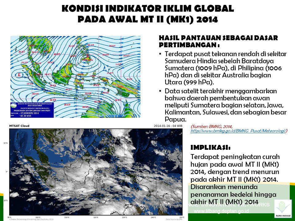 HASIL PANTAUAN SEBAGAI DASAR PERTIMBANGAN : Terdapat pusat tekanan rendah di sekitar Samudera Hindia sebelah Baratdaya Sumatera (1009 hPa), di Philipina (1006 hPa) dan di sekitar Australia bagian Utara (999 hPa).