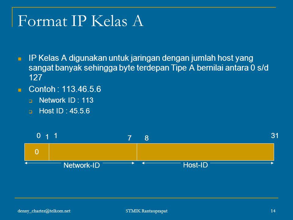denny_charter@telkom.net STMIK Rantauprapat 13 IP Address Kelas A Karakteristik : Format: 0nnnnnnn hhhhhhhh hhhhhhhh hhhhhhhh Bit Pertama: 0 Panjang N