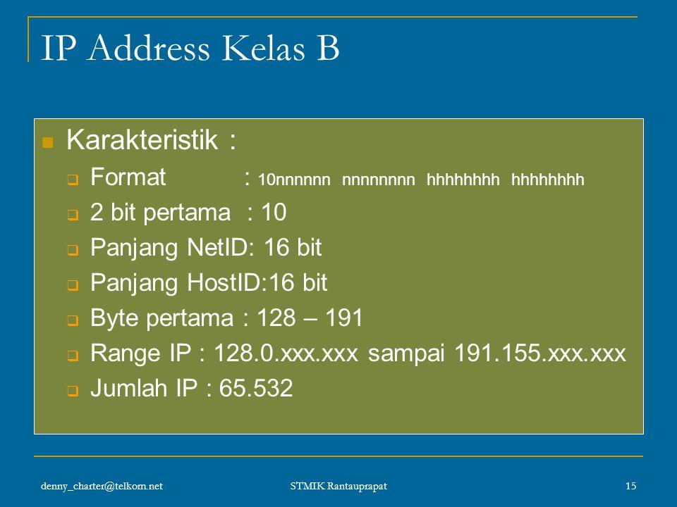 denny_charter@telkom.net STMIK Rantauprapat 14 Format IP Kelas A IP Kelas A digunakan untuk jaringan dengan jumlah host yang sangat banyak sehingga by