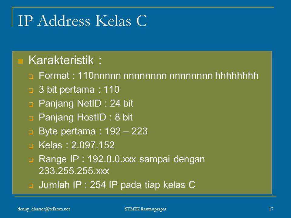 denny_charter@telkom.net STMIK Rantauprapat 16 Format IP Kelas B IP Kelas B dialokasikan untuk jaringan yang berukuran sedang, byte pertamanya selalu