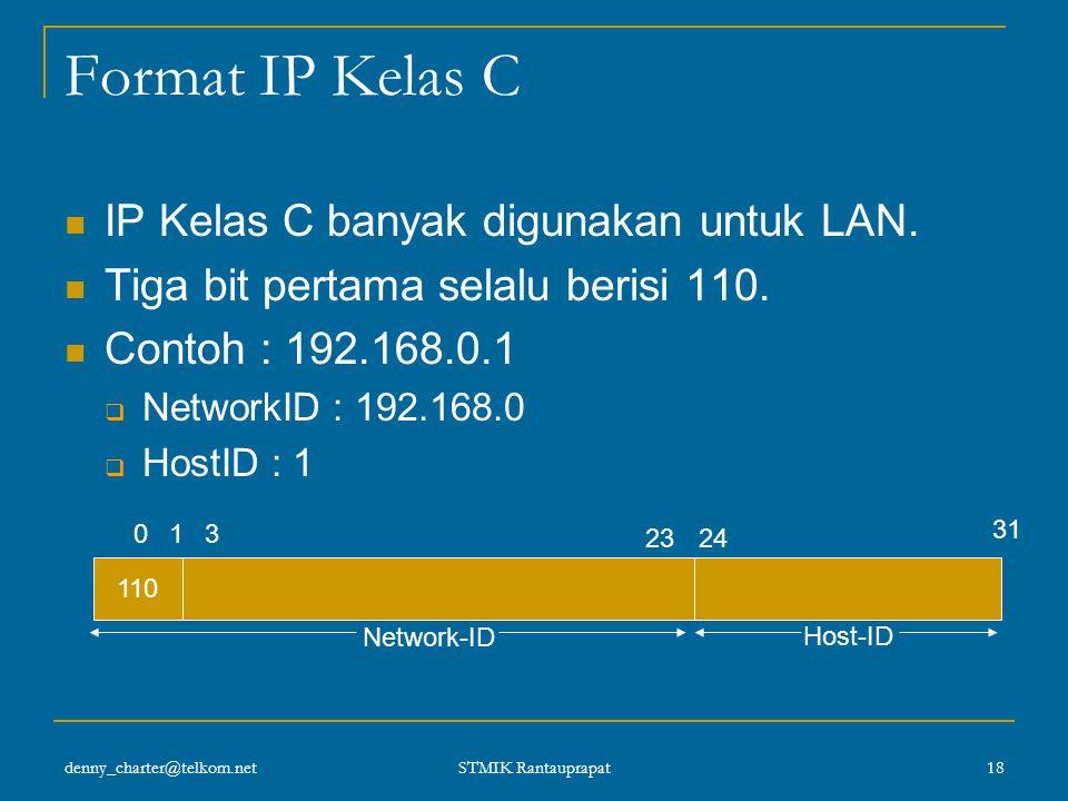 denny_charter@telkom.net STMIK Rantauprapat 17 IP Address Kelas C Karakteristik :  Format : 110nnnnn nnnnnnnn nnnnnnnn hhhhhhhh  3 bit pertama : 110