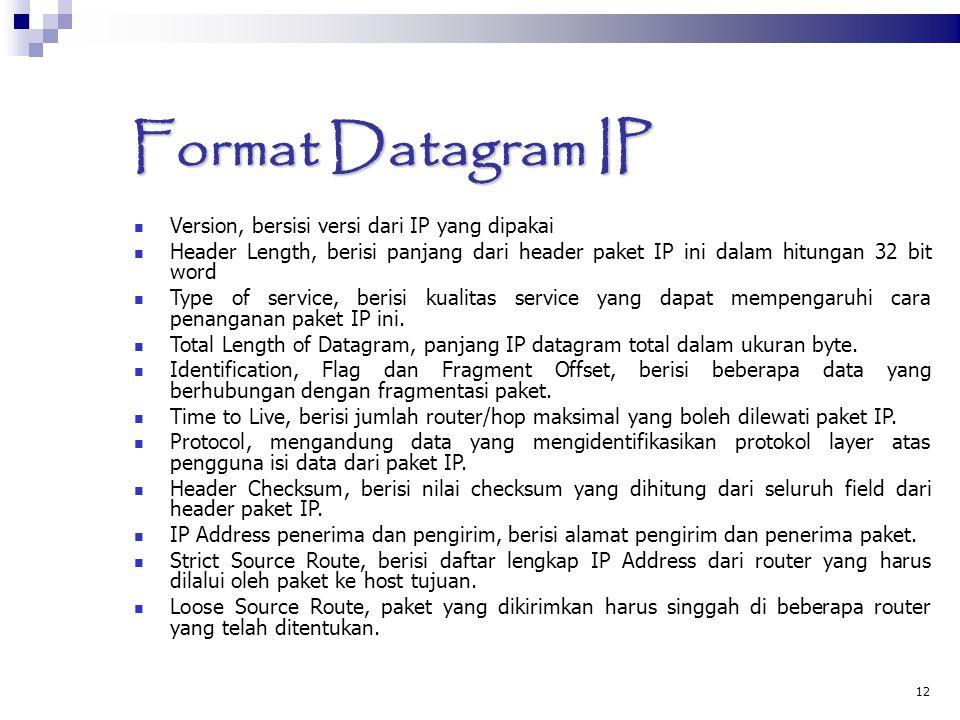 12 Format Datagram IP Version, bersisi versi dari IP yang dipakai Header Length, berisi panjang dari header paket IP ini dalam hitungan 32 bit word Type of service, berisi kualitas service yang dapat mempengaruhi cara penanganan paket IP ini.