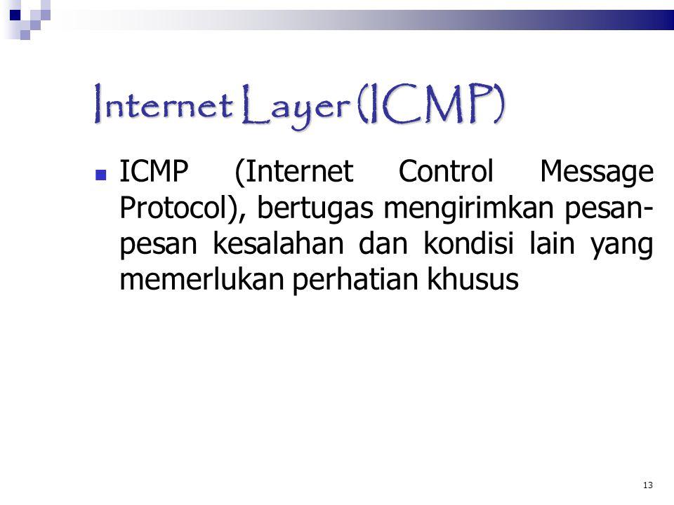13 Internet Layer (ICMP)  ICMP (Internet Control Message Protocol), bertugas mengirimkan pesan- pesan kesalahan dan kondisi lain yang memerlukan perh