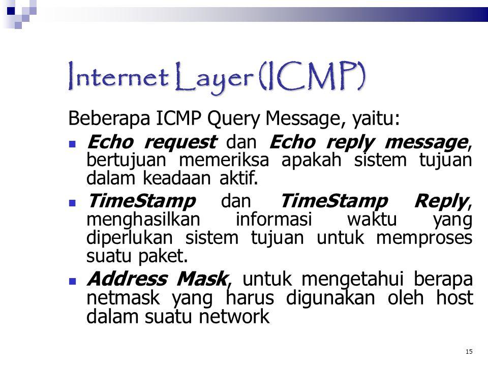 15 Internet Layer (ICMP)  Beberapa ICMP Query Message, yaitu: Echo request dan Echo reply message, bertujuan memeriksa apakah sistem tujuan dalam keadaan aktif.