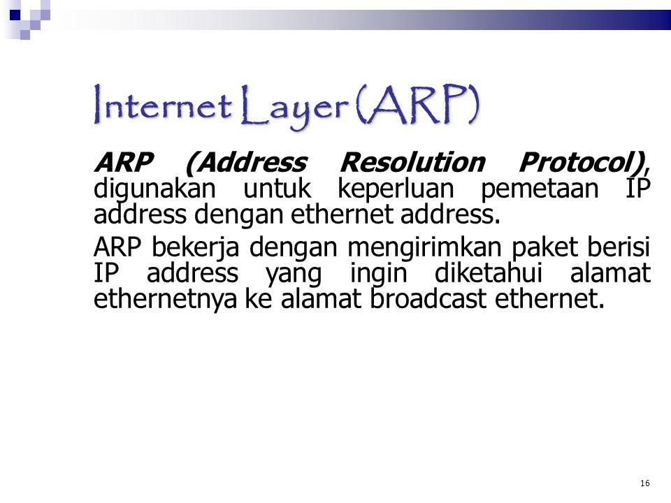 16 Internet Layer (ARP)  ARP (Address Resolution Protocol), digunakan untuk keperluan pemetaan IP address dengan ethernet address. ARP bekerja dengan