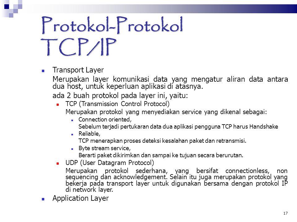 17 Protokol-Protokol TCP/IP Transport Layer Merupakan layer komunikasi data yang mengatur aliran data antara dua host, untuk keperluan aplikasi di ata