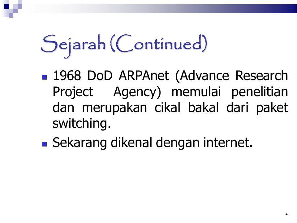 4 Sejarah (Continued)  1968 DoD ARPAnet (Advance Research Project Agency) memulai penelitian dan merupakan cikal bakal dari paket switching.