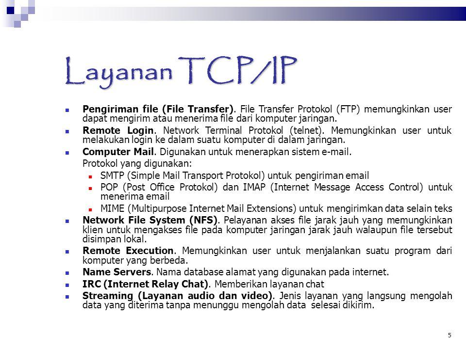 5 Layanan TCP/IP Pengiriman file (File Transfer). File Transfer Protokol (FTP) memungkinkan user dapat mengirim atau menerima file dari komputer jarin