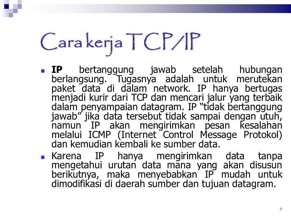 7 Cara kerja TCP/IP IP bertanggung jawab setelah hubungan berlangsung. Tugasnya adalah untuk merutekan paket data di dalam network. IP hanya bertugas