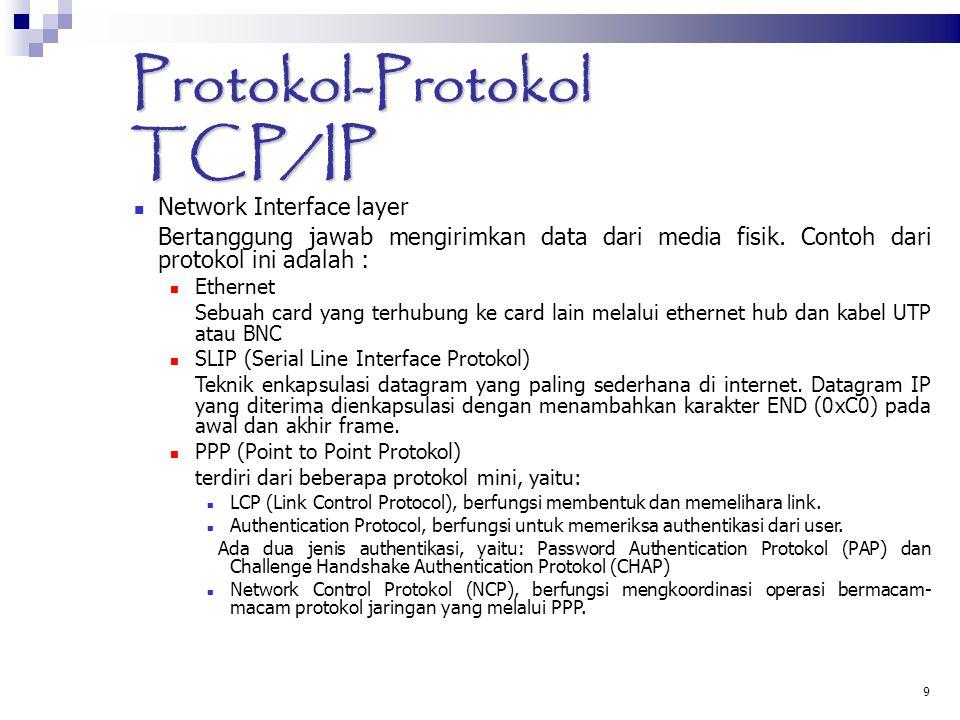 9 Protokol-Protokol TCP/IP Network Interface layer Bertanggung jawab mengirimkan data dari media fisik. Contoh dari protokol ini adalah : Ethernet Seb
