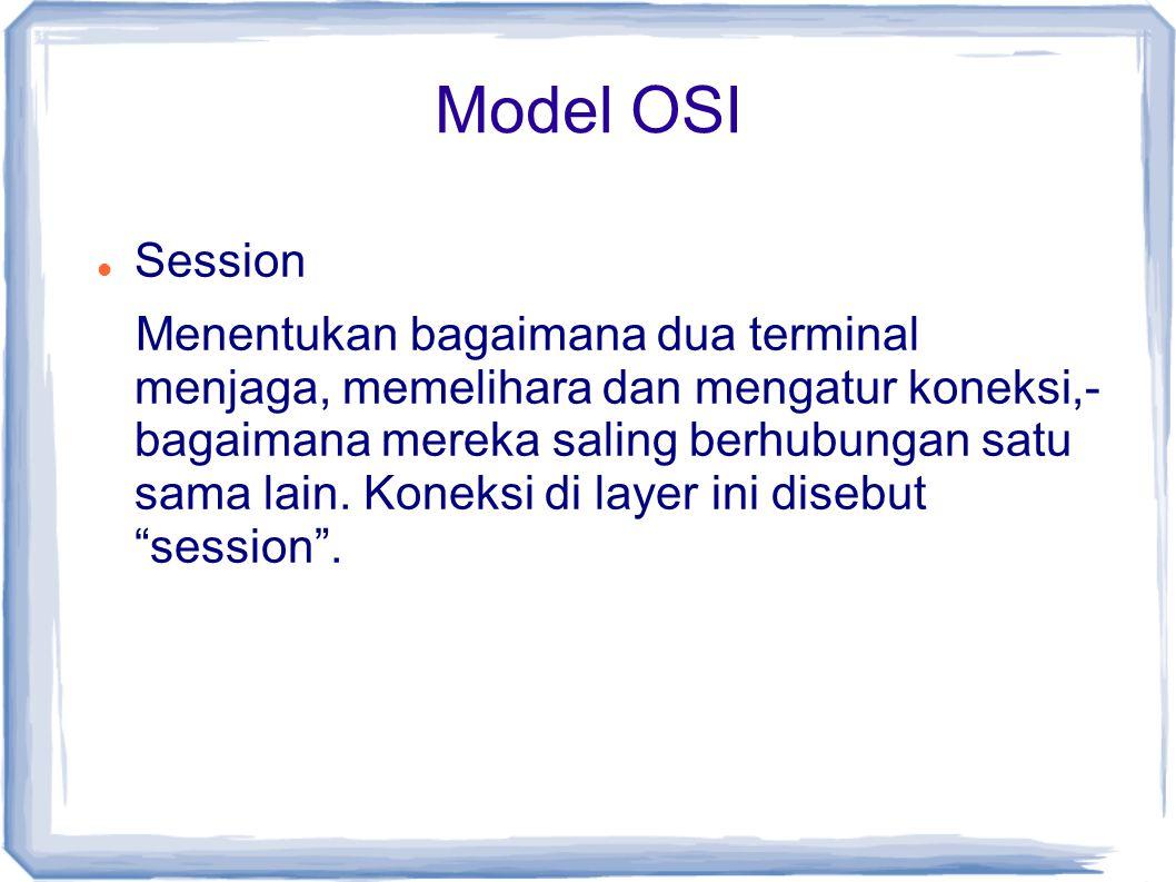 Model OSI Session Menentukan bagaimana dua terminal menjaga, memelihara dan mengatur koneksi,- bagaimana mereka saling berhubungan satu sama lain. Kon