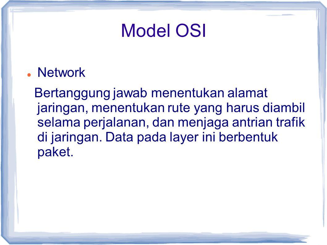 Model OSI Network Bertanggung jawab menentukan alamat jaringan, menentukan rute yang harus diambil selama perjalanan, dan menjaga antrian trafik di ja