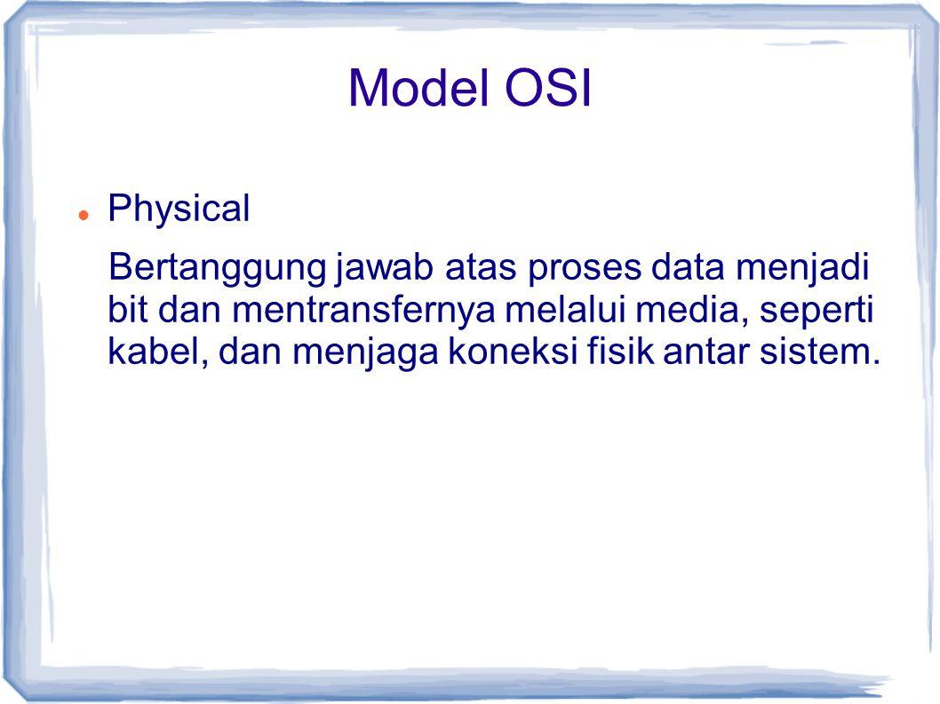 Model OSI Physical Bertanggung jawab atas proses data menjadi bit dan mentransfernya melalui media, seperti kabel, dan menjaga koneksi fisik antar sis