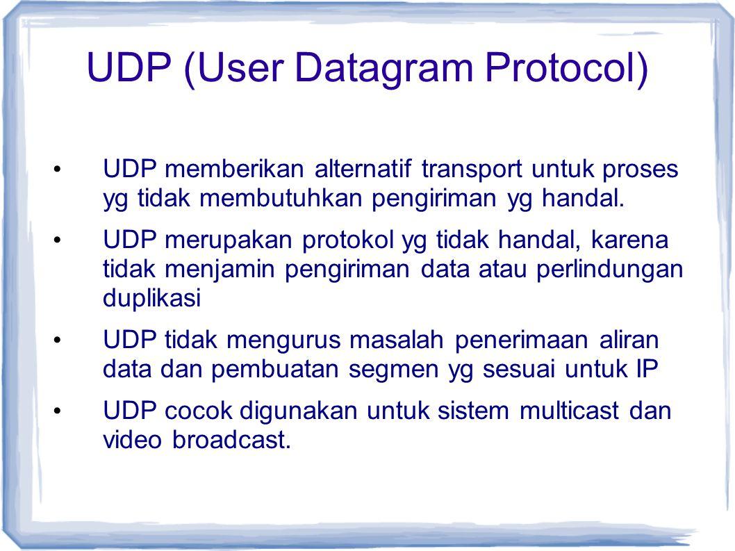 UDP (User Datagram Protocol) UDP memberikan alternatif transport untuk proses yg tidak membutuhkan pengiriman yg handal. UDP merupakan protokol yg tid