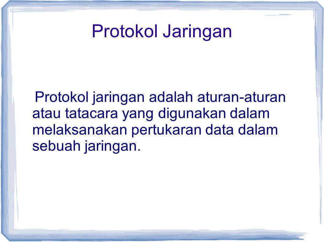Protokol Jaringan Protokol jaringan adalah aturan-aturan atau tatacara yang digunakan dalam melaksanakan pertukaran data dalam sebuah jaringan.