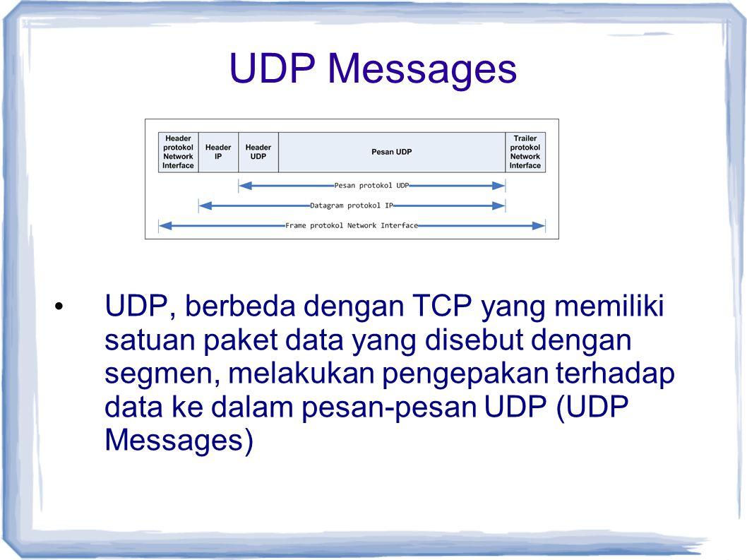 UDP Messages UDP, berbeda dengan TCP yang memiliki satuan paket data yang disebut dengan segmen, melakukan pengepakan terhadap data ke dalam pesan-pes