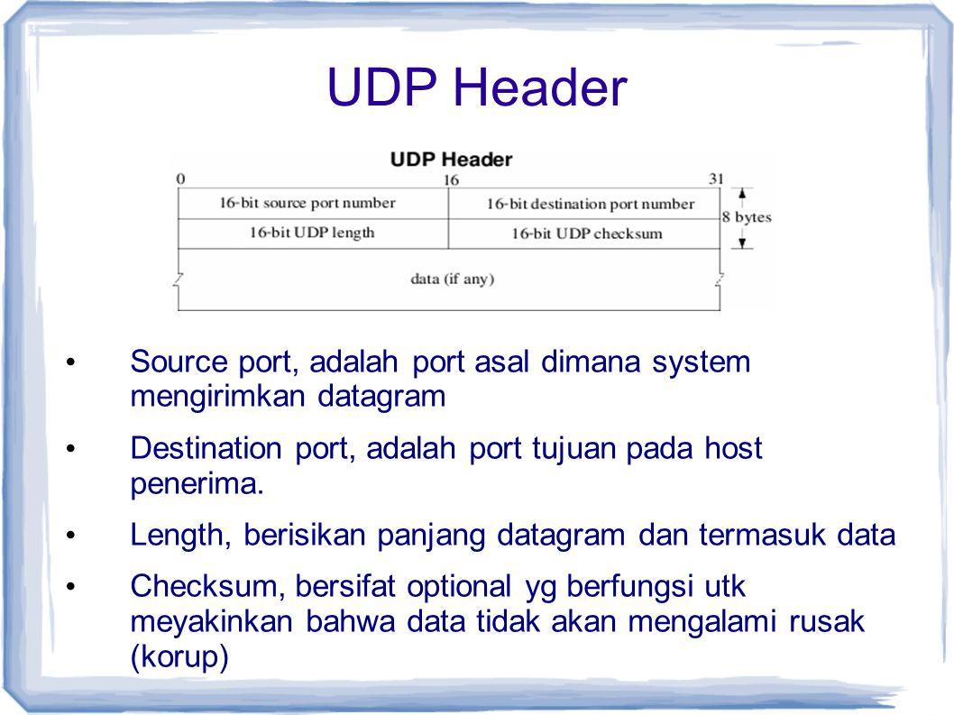 UDP Header Source port, adalah port asal dimana system mengirimkan datagram Destination port, adalah port tujuan pada host penerima. Length, berisikan