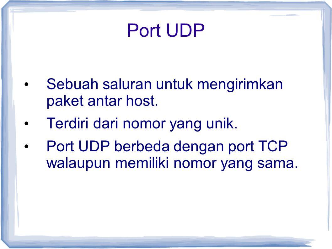 Port UDP Sebuah saluran untuk mengirimkan paket antar host. Terdiri dari nomor yang unik. Port UDP berbeda dengan port TCP walaupun memiliki nomor yan