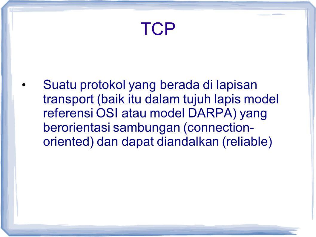 TCP Suatu protokol yang berada di lapisan transport (baik itu dalam tujuh lapis model referensi OSI atau model DARPA) yang berorientasi sambungan (con