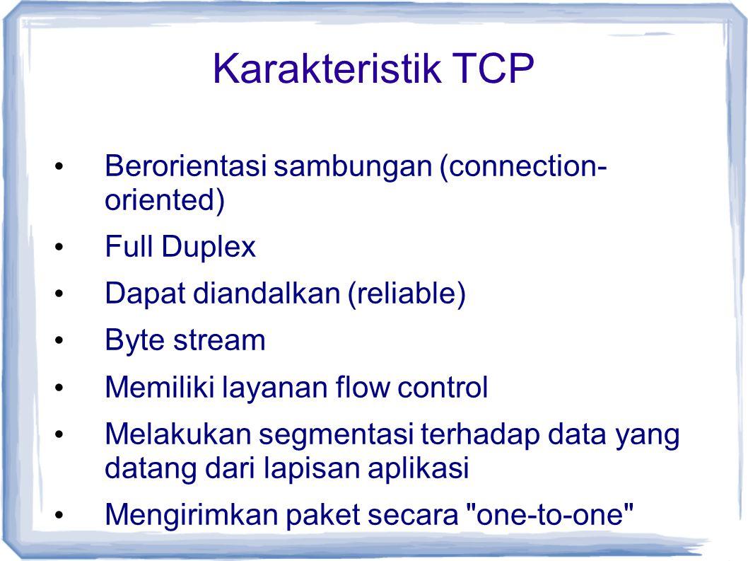 Karakteristik TCP Berorientasi sambungan (connection- oriented) Full Duplex Dapat diandalkan (reliable) Byte stream Memiliki layanan flow control Mela