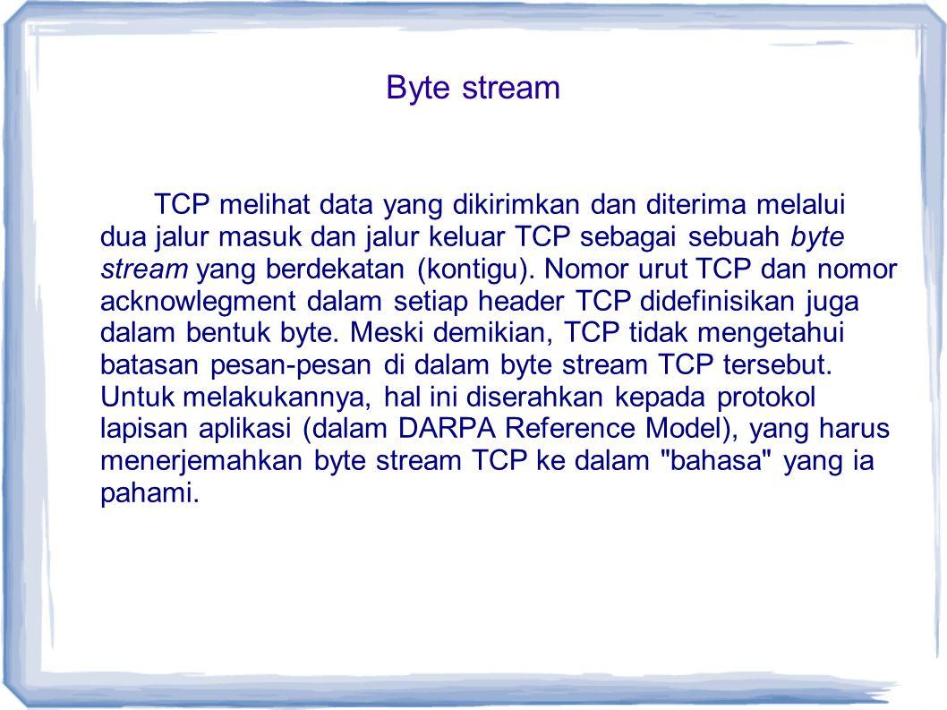 Byte stream TCP melihat data yang dikirimkan dan diterima melalui dua jalur masuk dan jalur keluar TCP sebagai sebuah byte stream yang berdekatan (kon