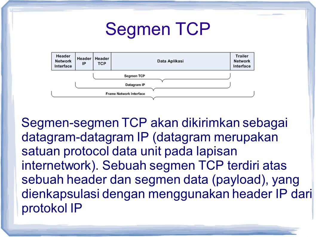 Segmen TCP Segmen-segmen TCP akan dikirimkan sebagai datagram-datagram IP (datagram merupakan satuan protocol data unit pada lapisan internetwork). Se
