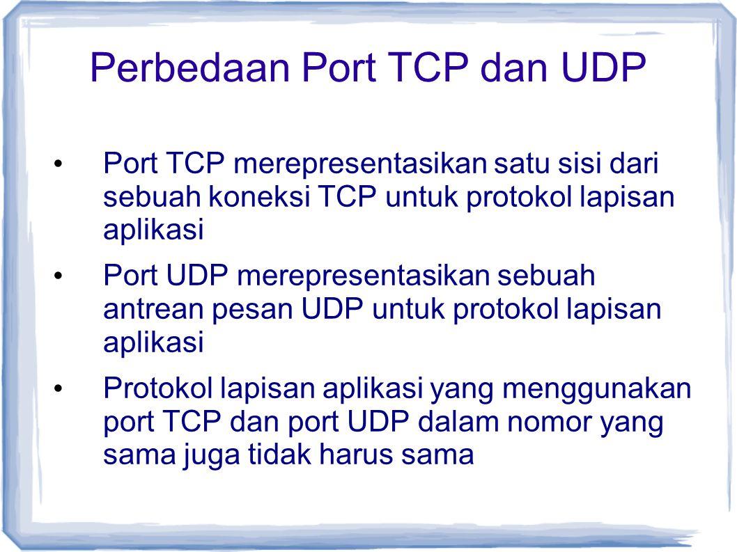 Perbedaan Port TCP dan UDP Port TCP merepresentasikan satu sisi dari sebuah koneksi TCP untuk protokol lapisan aplikasi Port UDP merepresentasikan seb
