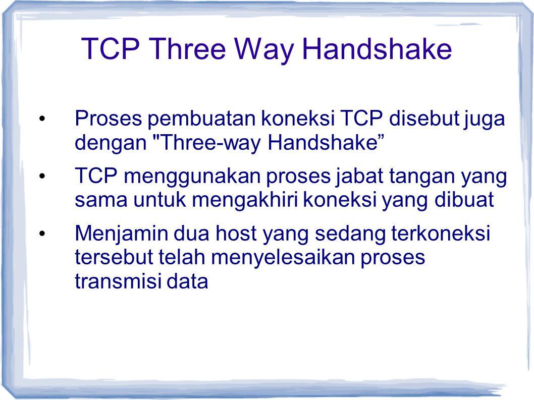 TCP Three Way Handshake Proses pembuatan koneksi TCP disebut juga dengan