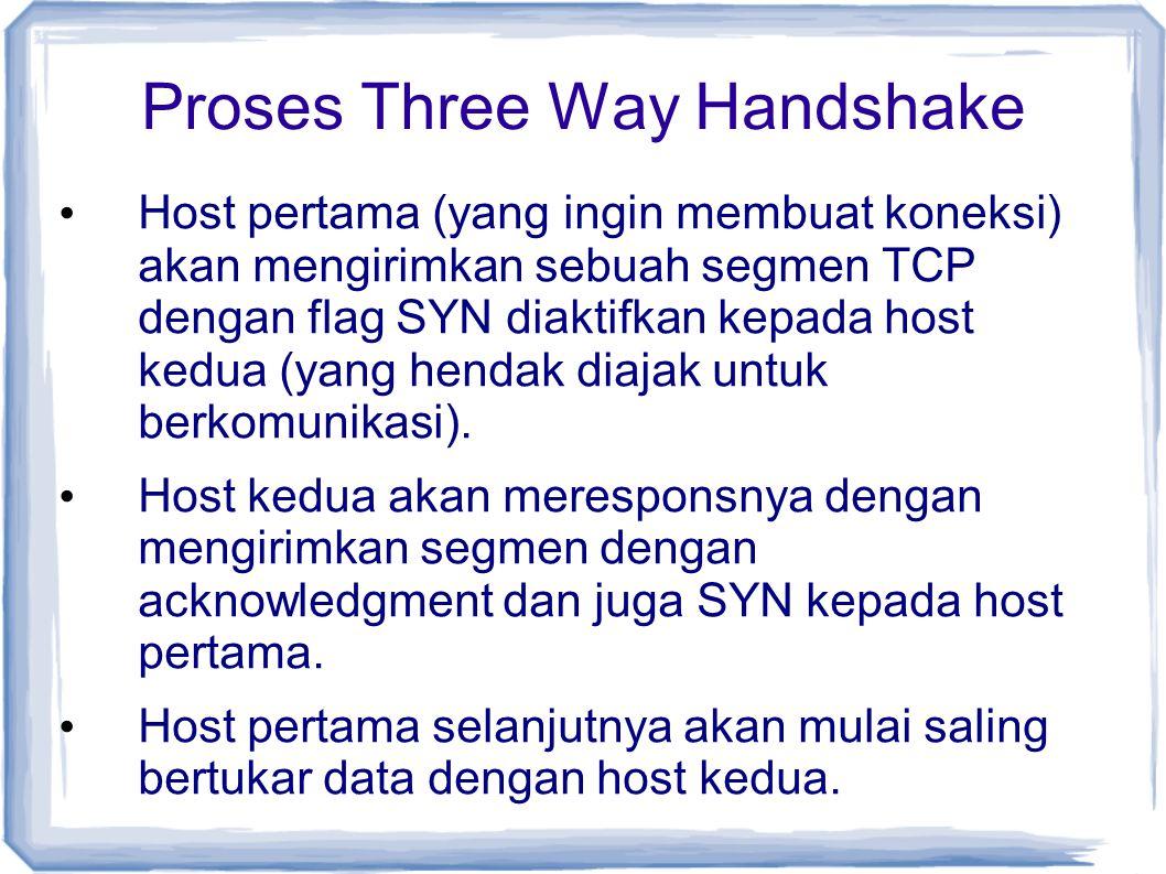 Proses Three Way Handshake Host pertama (yang ingin membuat koneksi) akan mengirimkan sebuah segmen TCP dengan flag SYN diaktifkan kepada host kedua (
