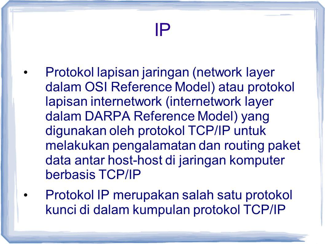 IP Protokol lapisan jaringan (network layer dalam OSI Reference Model) atau protokol lapisan internetwork (internetwork layer dalam DARPA Reference Mo