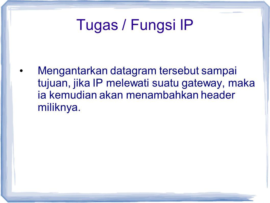 Tugas / Fungsi IP Mengantarkan datagram tersebut sampai tujuan, jika IP melewati suatu gateway, maka ia kemudian akan menambahkan header miliknya.