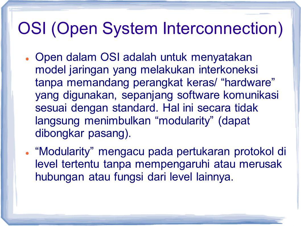 "OSI (Open System Interconnection) Open dalam OSI adalah untuk menyatakan model jaringan yang melakukan interkoneksi tanpa memandang perangkat keras/ """