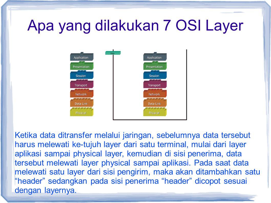 Apa yang dilakukan 7 OSI Layer Ketika data ditransfer melalui jaringan, sebelumnya data tersebut harus melewati ke-tujuh layer dari satu terminal, mul