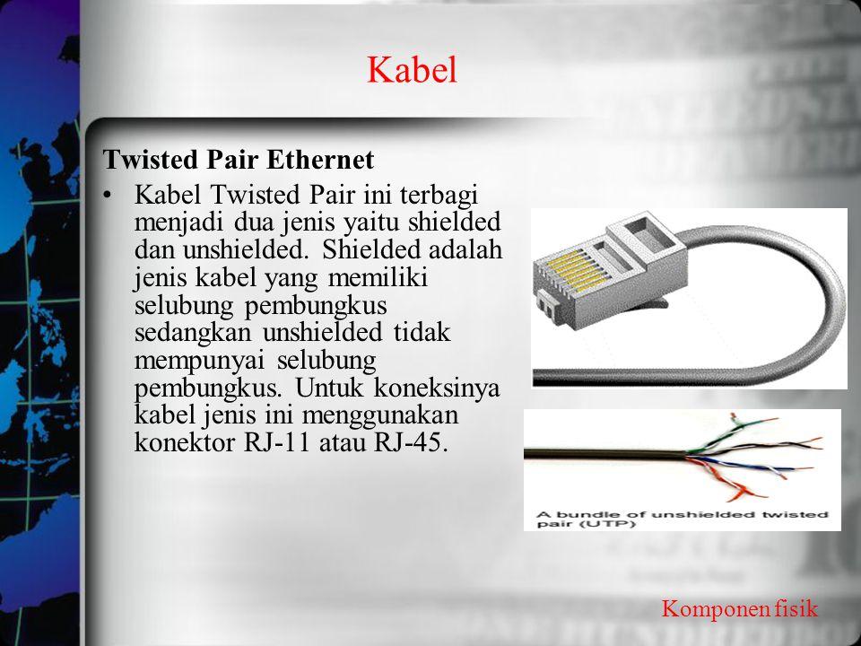 Kabel Komponen fisik Twisted Pair Ethernet Kabel Twisted Pair ini terbagi menjadi dua jenis yaitu shielded dan unshielded. Shielded adalah jenis kabel