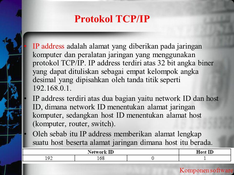 Protokol TCP/IP Komponen software IP address adalah alamat yang diberikan pada jaringan komputer dan peralatan jaringan yang menggunakan protokol TCP/