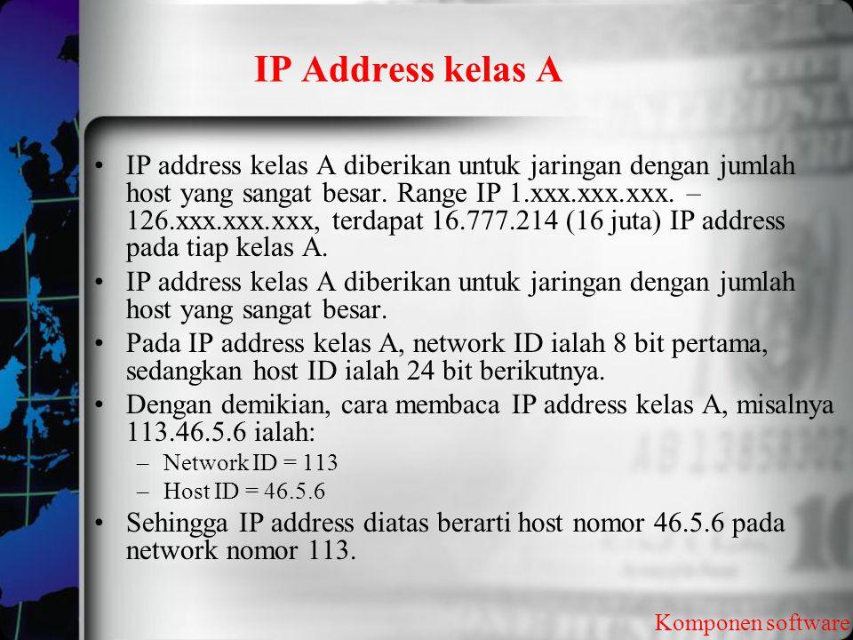 IP Address kelas A Komponen software IP address kelas A diberikan untuk jaringan dengan jumlah host yang sangat besar. Range IP 1.xxx.xxx.xxx. – 126.x