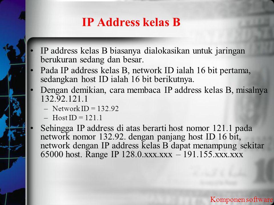 IP Address kelas B Komponen software IP address kelas B biasanya dialokasikan untuk jaringan berukuran sedang dan besar. Pada IP address kelas B, netw