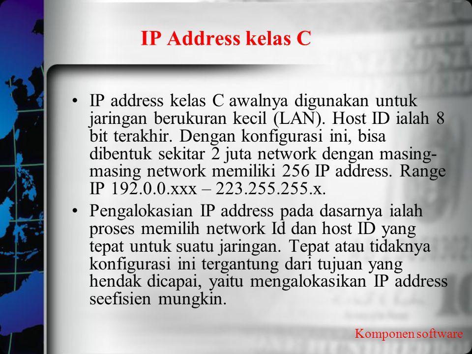 IP Address kelas C Komponen software IP address kelas C awalnya digunakan untuk jaringan berukuran kecil (LAN). Host ID ialah 8 bit terakhir. Dengan k