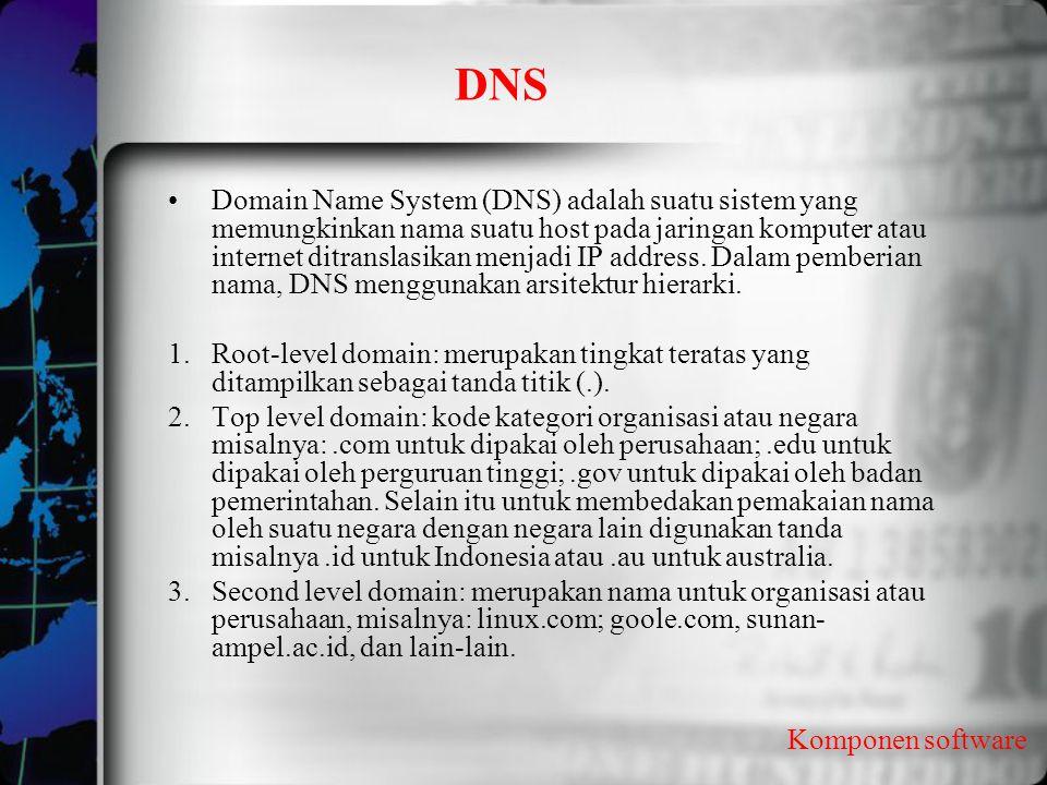 DNS Komponen software Domain Name System (DNS) adalah suatu sistem yang memungkinkan nama suatu host pada jaringan komputer atau internet ditranslasik