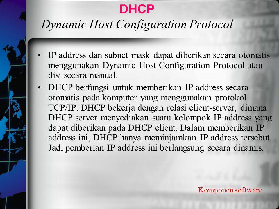 DHCP Dynamic Host Configuration Protocol IP address dan subnet mask dapat diberikan secara otomatis menggunakan Dynamic Host Configuration Protocol at
