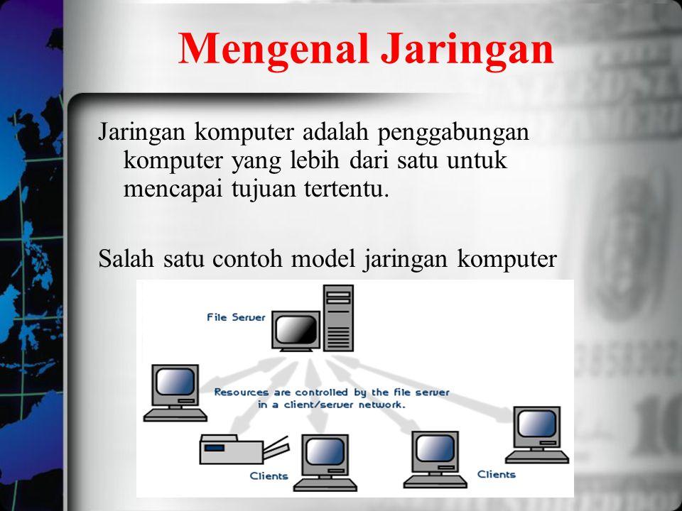 Mengenal Jaringan Jaringan komputer adalah penggabungan komputer yang lebih dari satu untuk mencapai tujuan tertentu. Salah satu contoh model jaringan
