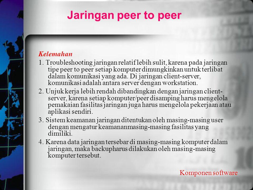 Komponen software Jaringan peer to peer Kelemahan 1. Troubleshooting jaringan relatif lebih sulit, karena pada jaringan tipe peer to peer setiap kompu