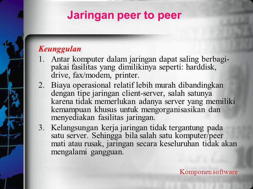 Komponen software Jaringan peer to peer Keunggulan 1.Antar komputer dalam jaringan dapat saling berbagi- pakai fasilitas yang dimilikinya seperti: har