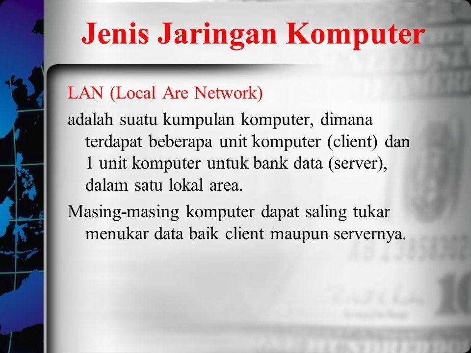 Jenis Jaringan Komputer LAN (Local Are Network) adalah suatu kumpulan komputer, dimana terdapat beberapa unit komputer (client) dan 1 unit komputer un
