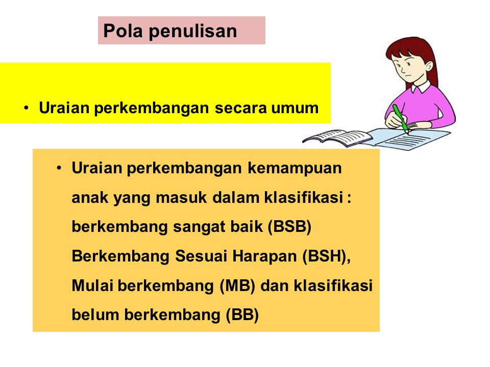 Uraian perkembangan secara umum Pola penulisan Uraian perkembangan kemampuan anak yang masuk dalam klasifikasi : berkembang sangat baik (BSB) Berkemba