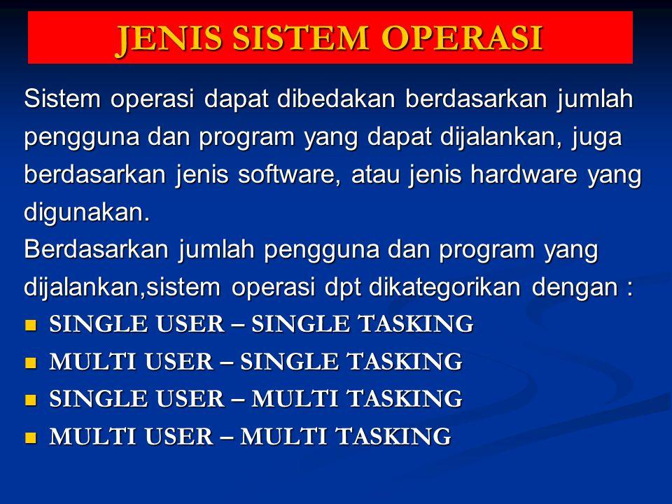 Berdasarkan jumlah pengguna dan program yang dijalankan, sistem operasi dapat dikategorikan dengan: Komputer PC (desktop / laptop) Komputer PC (desktop / laptop) Komputer Server Komputer Server