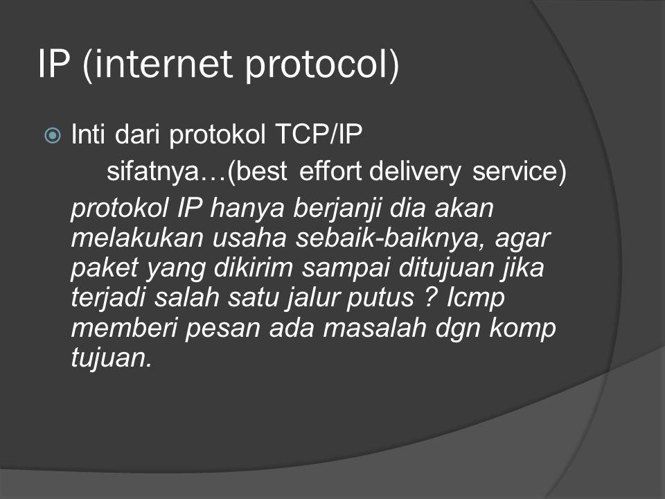 IP (internet protocol)  Inti dari protokol TCP/IP sifatnya…(best effort delivery service) protokol IP hanya berjanji dia akan melakukan usaha sebaik-