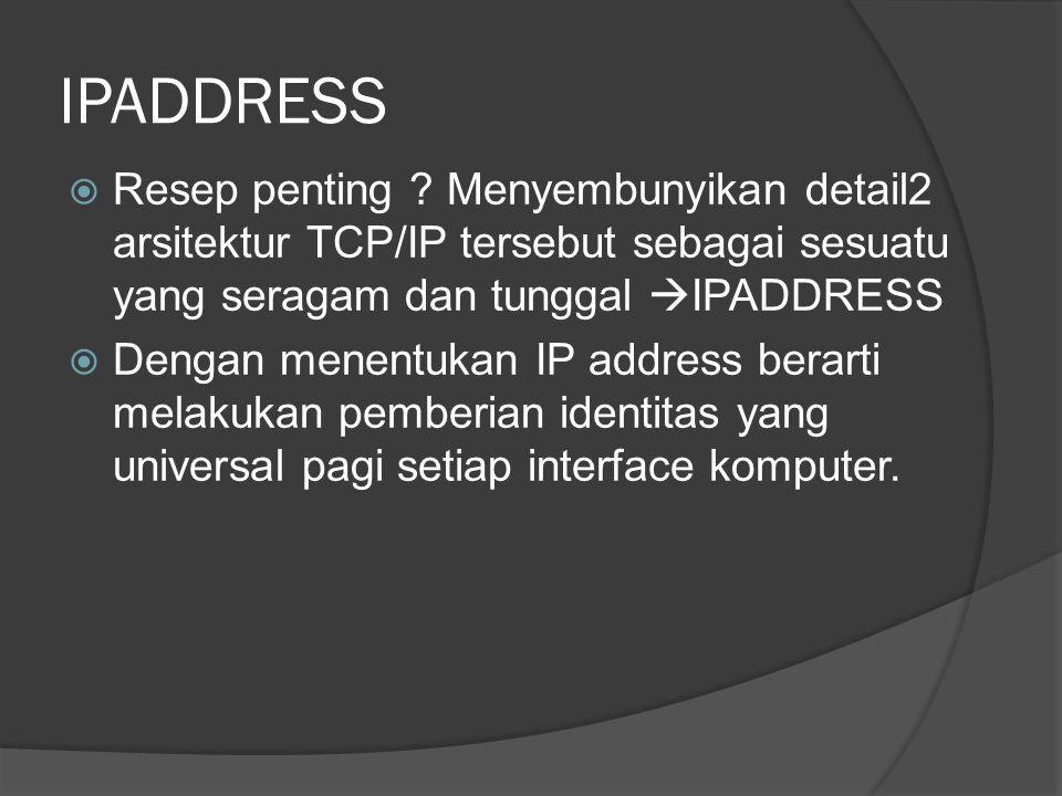 IPADDRESS  Resep penting ? Menyembunyikan detail2 arsitektur TCP/IP tersebut sebagai sesuatu yang seragam dan tunggal  IPADDRESS  Dengan menentukan